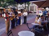 Musicians Playing Outside a Cafe in the City Centre  Cape Town  South Africa  Africa