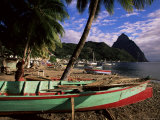 Fishing Boats at Soufriere Beach  with the Pitons in the Background  St Lucia  West Indies