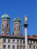 Frauenkirche Towers and Mariensaule (St Mary&#39;s Column)  Munich  Bavaria  Germany