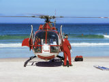 First Aid Medical Helicopter Lands on the Beach  South Africa  Africa