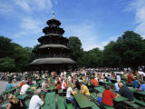 People Sitting at the Chinese Tower Beer Garden in the Englischer Garten  Munich  Bavaria  Germany