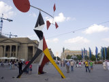 Alexander Calder's Mobile Statue  and People on Konigstrasse  (King Street)  Stuttgart