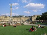 Schlossplatz  King Wilhelm Jubilee Column  Neues Schloss  Stuttgart  Baden Wurttemberg  Germany