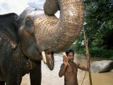 Elephant and His Mahout Washing in the River Near Kandy  Sri Lanka