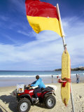Swimming Flag and Patrolling Lifeguard at Bondi Beach  Sydney  New South Wales  Australia