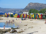 Colourfully Painted Victorian Bathing Huts in False Bay  Cape Town  South Africa  Africa