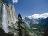 Upper Yosemite Falls Cascades Down the Sheer Granite Walls of Yosemite Valley