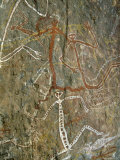 Painting of Dancing Figures at Nourlangie Rock  Australia