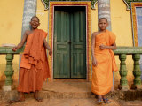 Young Buddhist Novices Relax Outside Their Temple in Sen Monorom  Cambodia  Southeast Asia