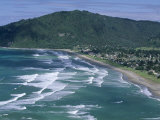 Aerial View of Surf Beach at Pauanui on East Coast  South Auckland  New Zealand