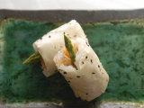 Sushi Appetizer of Salmon and Asparagas in Rice and Sesame Parcel  Japan