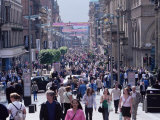 People Walking on Buchanan Street  Glasgow  Scotland  United Kingdom