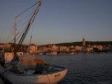 Evening Light in Supetar  with Fishing Boat in Front  Brac  Dalmatian Coast  Croatia