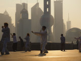 Morning Exercise Against the Background of Lujiazui Finance and Trade Zone  Shanghai  China