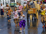 Children Playing and Parading in Streets During King Narai Reign Fair  Lopburi  Thailand