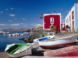 Boats and Old Red House  Old Port  Puerto Del Carmen  Lanzarote  Canary Islands  Spain