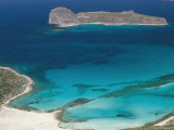 Aerial View of Sandy Beach of Tigani and Agria Island  Gramvousa Peninsula  Western Crete  Greee