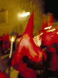 Hooded Penitents in Procession at Night  Holy Week  Salamanca  Castilla Leon (Castile)  Spain