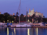 Palma Cathedral from the Harbour at Dusk  Palma De Mallorca  Majorca  Balearic Islands  Spain