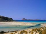 Sandy Beach of Tigani and Agria Islet and Coast  Gramvousa Peninsula  Western Crete  Greece