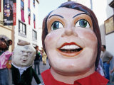 Giant Masks on Parade During Celebration of Descent of Our Lady of Snows Fiesta  La Palma  Spain