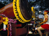 Young Thai Man Playing Drums in Parade  Flowers Festival  Chiang Mai  Thailand  Southeast Asia