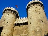 Twin Towered Stone Gates of Torres De Quart  in Old City Walls  Valencia  Spain