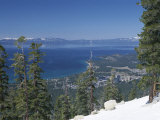 Lake Tahoe and Town on California and Nevada State Line  USA