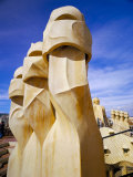 Gaudi Architecture  Chimneys  Casa Mila  La Pedrera  Barcelona  Catalonia  Spain