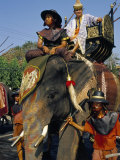 Soldiers and Noble Riding on an Elephant  King Narai Reign Fair  Lopburi  Thailand