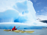 Person Kayaking Near Floating Icebergs  Lago Gray  Torres Del Paine National Park  Patagonia