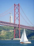25th April Bridge Over the Tagus River and the Christ Statue in Background