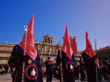 Penitents in the Plaza Mayor During Holy Week Procession  Salamanca  Castilla Leon  Spain