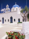 Orthodox Christian Church and Square  Akrotiri  Santorini (Thira)  Cyclades Islands  Greece