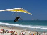 Hang-Glider Landing on Pepino Beach  Rio De Janeiro  Brazil  South America