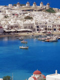 Aerial View of Mykonos  Hora and Harbour  Cyclades  Greek Islands  Greece  Mediterranean