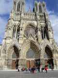 Tourists Outside Reims Cathedral  Dating from 13th and 14th Centuries  Champagne Region
