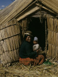 Uro Indian Woman and Baby  Lake Titicaca  Peru  South America