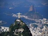 City with the Cristo Redentor Statue in Foreground and Pao De Acucar in the Background  Brazil
