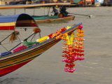 Floral Decoration on a Longtail Boat on River  Bangkok  Thailand  Southeast Asia