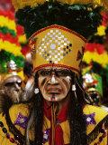 Portrait of a Tobas Warrior  the Devil Dance (La Diablada)  Carnival  Oruro  Bolivia  South America