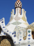 Bizarre Gaudi&#39;s Mosaics Roof  Guell Park (Parc Guell)  Barcelona  Catalonia (Cataluna)  Spain