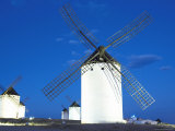 Old Traditional Windmills at Dusk  Campo De Criptana  Castilla La Mancha  Spain