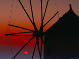 Silhouette of Windmill at Sunset  Oia  Santorini (Thira)  Cyclades Islands  Greece