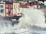 Waves Pounding Sea Wall and Rail Track in Storm  Dawlish  Devon  England  United Kingdom