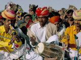 Musicians Playing the Dhol and Poongi  Bikaner Desert Festival  Rajasthan State  India