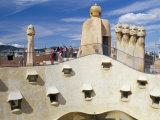 View of Gaudi's Casa Mila Modernist Roof Terrace  La Pedrera  Barcelona  Catalonia  Spain