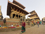 Market Stalls Set out Amongst the Temples  Durbar Square  Patan  Kathmandu Valley  Nepal