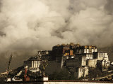 Image Taken in 2006 and Partially Toned  Dramatic Clouds Building Behind the Potala Palace  Tibet