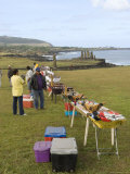 Souvenir Vendors at Tahai Ceremonial Site  Easter Island (Rapa Nui)  Chile  South America